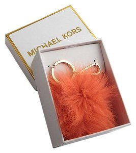 Michael Kors NEW in BOX Michael Kors ORANGE Fox Fur Pom Pom Keychain FOB Bag Charm
