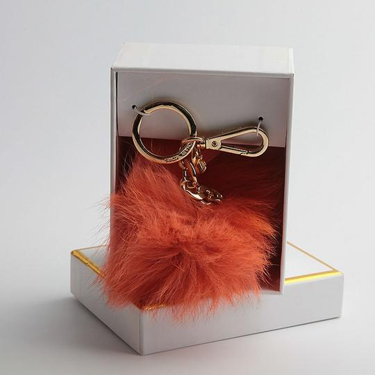 Michael Kors NEW in BOX Michael Kors ORANGE Fox Fur Pom Pom Keychain FOB Bag Charm Image 2
