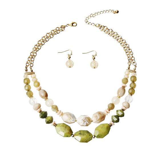 UNBRANDED Olive Marble and Stone Bead Layered Necklace Set Image 1
