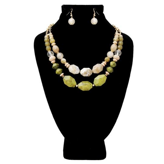 UNBRANDED Olive Marble and Stone Bead Layered Necklace Set Image 2
