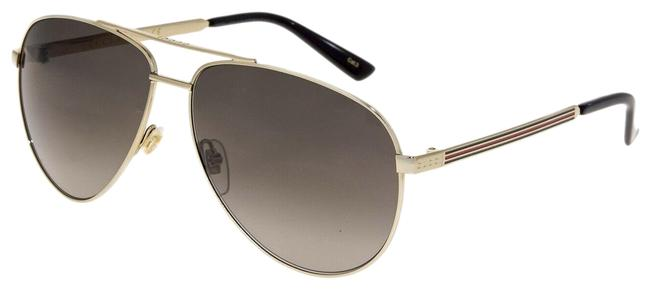 Gucci Gold Green Aviator Web 0137 Metal Brown Gradient Gg0137s Unisex Sunglasses Gucci Gold Green Aviator Web 0137 Metal Brown Gradient Gg0137s Unisex Sunglasses Image 1