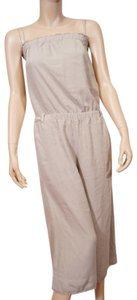 Cloth Stone Cloth Stone Beige Strapless Frayed Wide Leg Romper Jumpsuit Jumper S