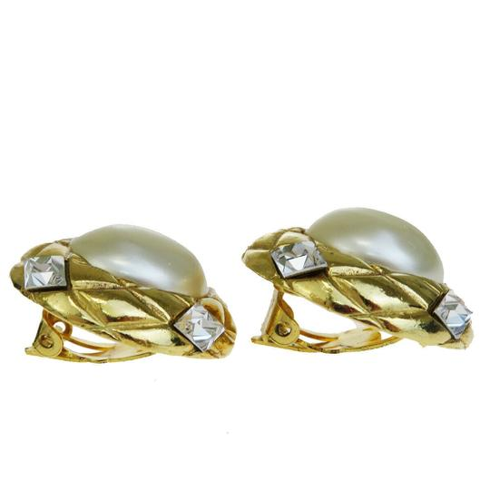 Chanel Auth CHANEL Earrings Rhinestone Gold-tone Clip-On Accessory Vintage Image 1