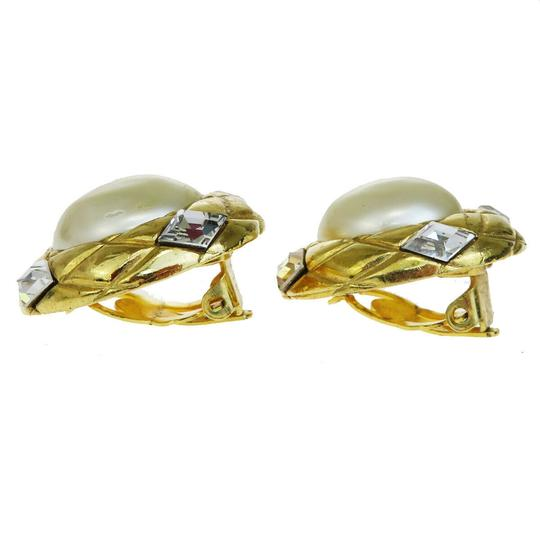 Chanel Auth CHANEL Earrings Rhinestone Gold-tone Clip-On Accessory Vintage Image 2