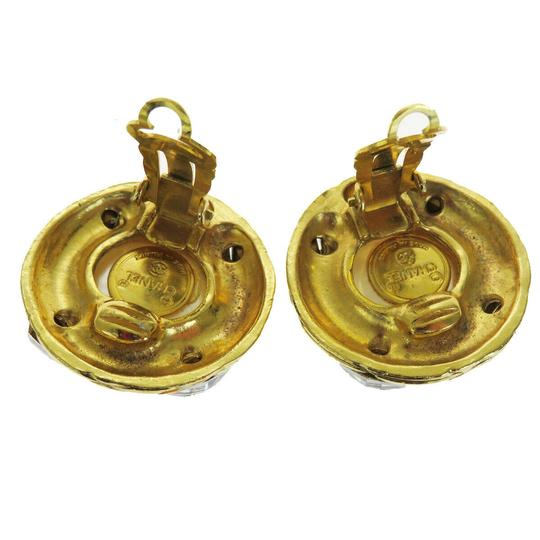 Chanel Auth CHANEL Earrings Rhinestone Gold-tone Clip-On Accessory Vintage Image 3