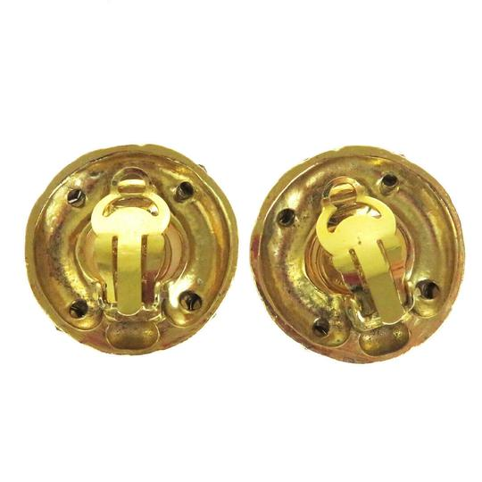 Chanel Auth CHANEL Earrings Rhinestone Gold-tone Clip-On Accessory Vintage Image 4