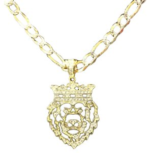 HarlemBling Harlembling 14k Gold Bonded Solid .925 Icy Africa Lion Charm & Chain