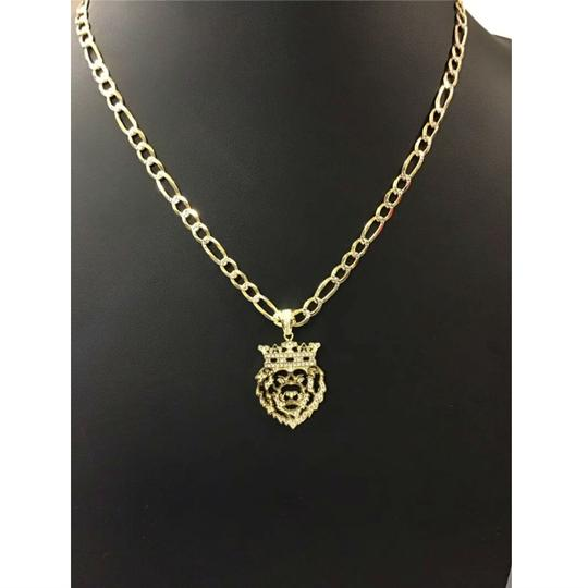 HarlemBling Harlembling 14k Gold Bonded Solid .925 Icy Africa Lion Charm & Chain Image 2