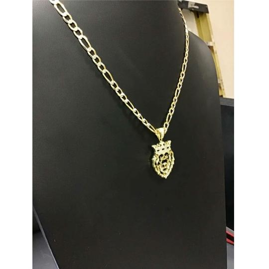 HarlemBling Harlembling 14k Gold Bonded Solid .925 Icy Africa Lion Charm & Chain Image 3