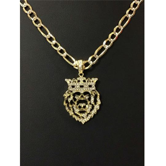 HarlemBling Harlembling 14k Gold Bonded Solid .925 Icy Africa Lion Charm & Chain Image 5