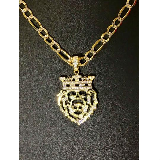 HarlemBling Harlembling 14k Gold Bonded Solid .925 Icy Africa Lion Charm & Chain Image 6