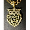HarlemBling Harlembling 14k Gold Bonded Solid .925 Icy Africa Lion Charm & Chain Image 7