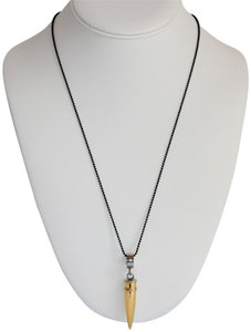 Unbranded Unisex Spikes 316L Stainless-Steel Gold-Plated Bullet Necklace