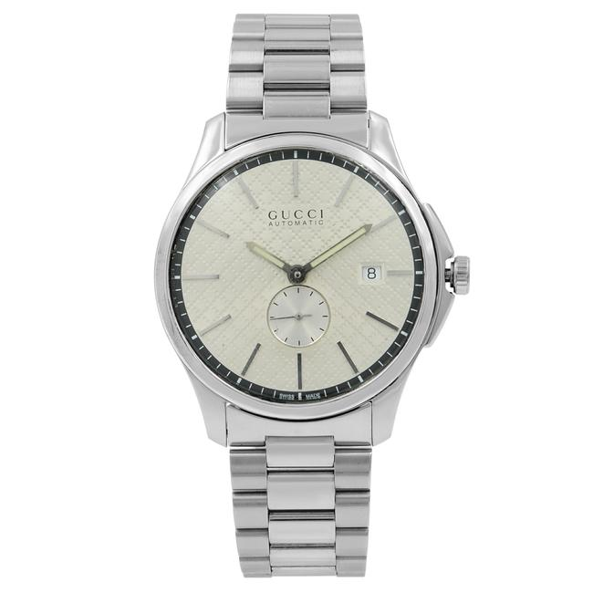 Gucci Steel G-timeless Silver Check Dial Mens Open Back Ya126320 Watch Gucci Steel G-timeless Silver Check Dial Mens Open Back Ya126320 Watch Image 1