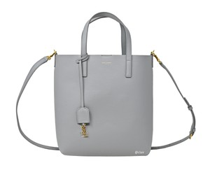 Saint Laurent Monogram Leather Tote in Grey