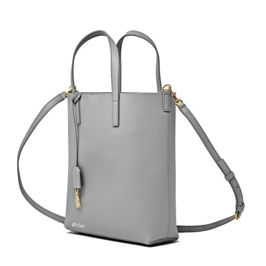 Saint Laurent Monogram Leather Tote in Grey Image 1