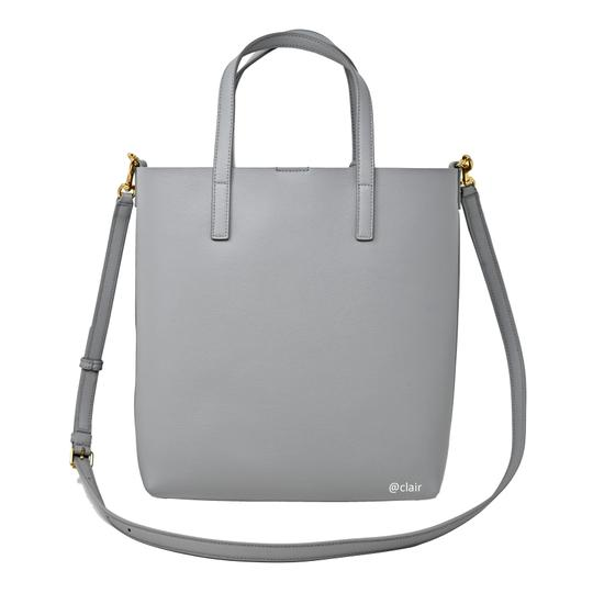 Saint Laurent Monogram Leather Tote in Grey Image 2