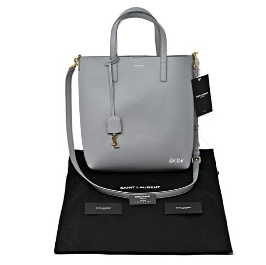 Saint Laurent Monogram Leather Tote in Grey Image 4
