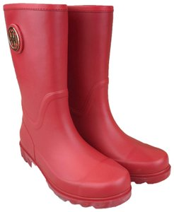 Tory Burch Rubber Maureen Rain New Red Boots