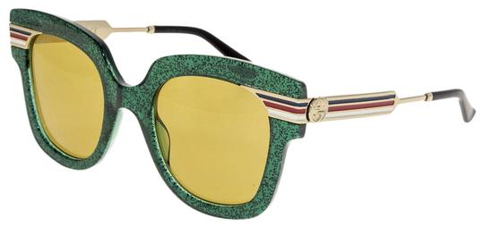 Gucci SYLVIE Stripe Gold Green Glitter Brown Oversized GG0281S Image 0