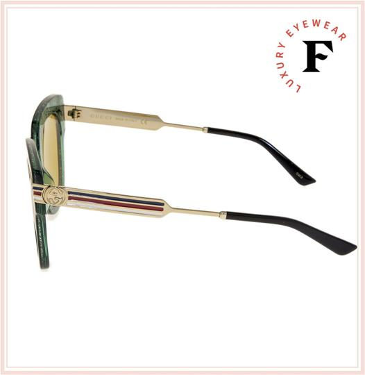 Gucci SYLVIE Stripe Gold Green Glitter Brown Oversized GG0281S Image 1