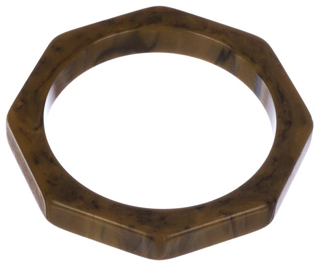 Item - Brown Octagonal Cream and Bakelite Swirl Bangle Bracelet
