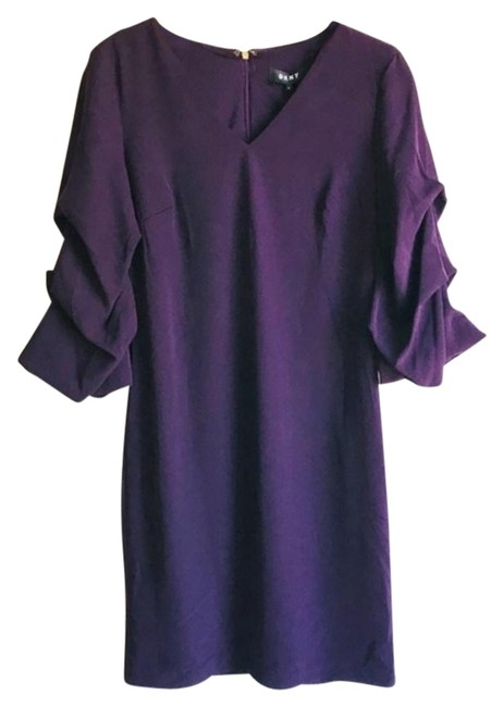 Preload https://img-static.tradesy.com/item/25946592/dkny-purple-34-ruched-sleeve-shift-short-casual-dress-size-4-s-0-1-650-650.jpg