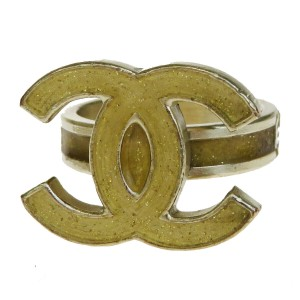 Chanel Authentic CHANEL CC Logo Ring Hardware Gold-tone Accessory Vintage