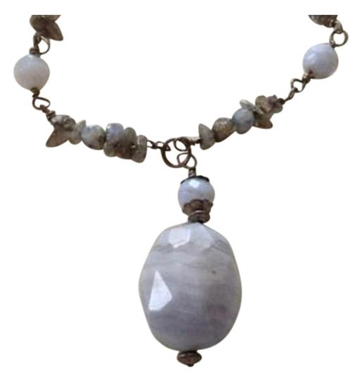 Preload https://img-static.tradesy.com/item/25946670/silver-handmade-rainbow-moonstone-chips-blue-lace-agate-bead-necklace-0-1-540-540.jpg