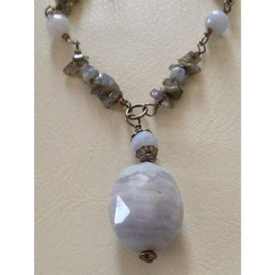 sterling silver Handmade Sterling Silver Rainbow Moonstone Chips, Blue Lace Agate Bead Image 1