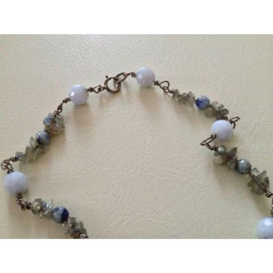 sterling silver Handmade Sterling Silver Rainbow Moonstone Chips, Blue Lace Agate Bead Image 3