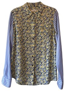 Equipment Button Down Shirt Navy, yellow, light blue and white