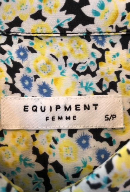 Equipment Button Down Shirt Navy, yellow, light blue and white Image 1