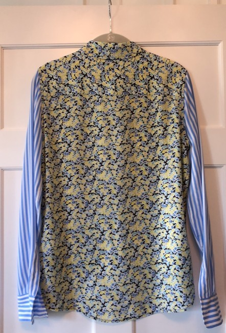 Equipment Button Down Shirt Navy, yellow, light blue and white Image 3