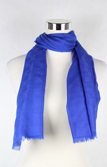 Gucci Gucci Large Royal Blue Shawl Scarf GG Print 307245 4300 Image 1