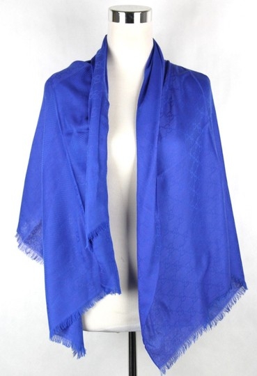 Gucci Gucci Large Royal Blue Shawl Scarf GG Print 307245 4300 Image 2