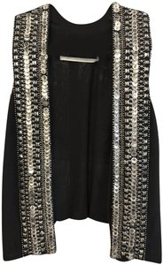 Twelfth St. by Cynthia Vincent Embellished Open Front Metal Style#5870sa Vest