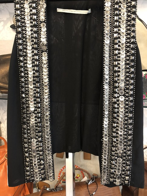 Twelfth St. by Cynthia Vincent Embellished Open Front Metal Style#5870sa Vest Image 3