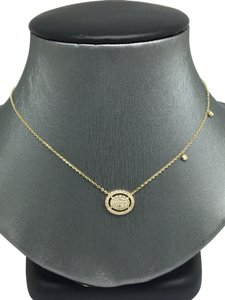 other 14K Yellow Gold Natural Genuine Diamond Oval Halo Cluster Necklace