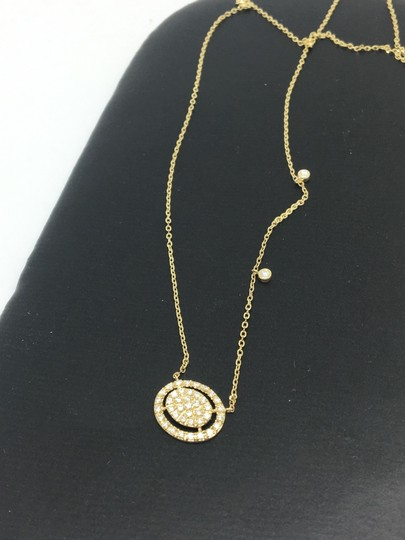 other 14K Yellow Gold Natural Genuine Diamond Oval Halo Cluster Necklace Image 1