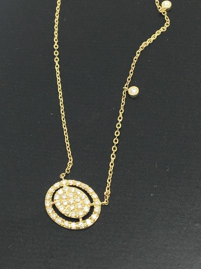 other 14K Yellow Gold Natural Genuine Diamond Oval Halo Cluster Necklace Image 2