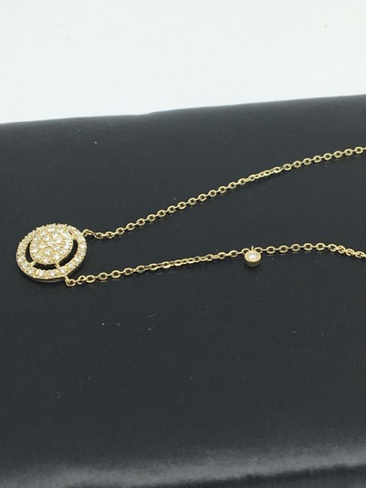 other 14K Yellow Gold Natural Genuine Diamond Oval Halo Cluster Necklace Image 3