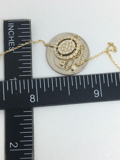 other 14K Yellow Gold Natural Genuine Diamond Oval Halo Cluster Necklace Image 7