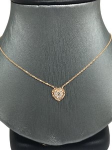 other 14K Rose Gold Natural Genuine Diamond Cluster Heart Charm Necklace