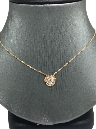 other 14K Rose Gold Natural Genuine Diamond Cluster Heart Charm Necklace Image 0