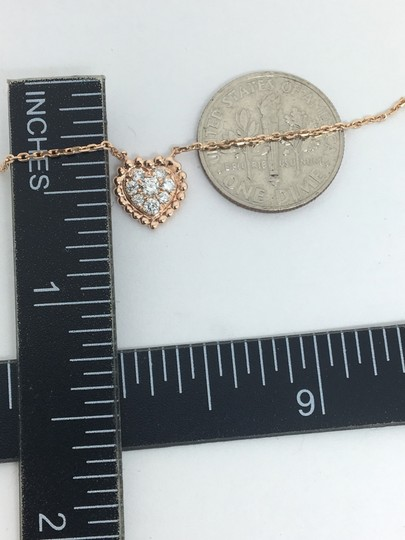 other 14K Rose Gold Natural Genuine Diamond Cluster Heart Charm Necklace Image 5