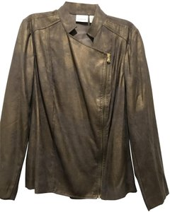 CHICO'S GOLD SHIMMER Leather Jacket