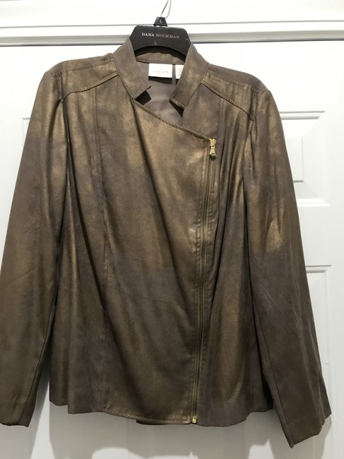 CHICO'S GOLD SHIMMER Leather Jacket Image 2