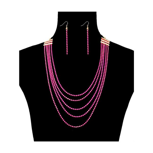Unbranded Pink Chain Layered Necklace Unbranded Pink Chain Layered Necklace Image 1