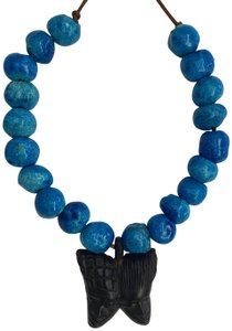 Vintage BLUE GLAZE CERAMIC BEAD NECKLACE BUTTERFLY CARVED WOOD AFRICAN FACES